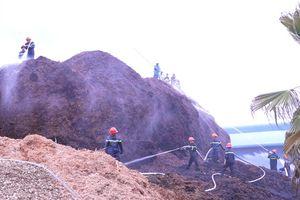 Cả trăm cán bộ, chiến sỹ tham gia chữa cháy bãi dăm gỗ