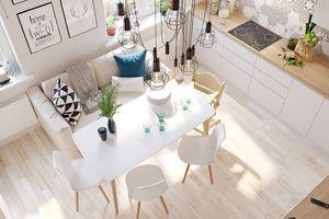 Nội thất gỗ tông trắng cho căn hộ sang trọng