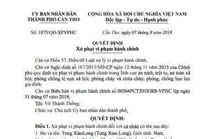 Cần Thơ: Xử phạt 4 người Trung Quốc sang Việt Nam để làm việc chui