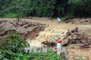 Mưa lớn kéo dài, tuyến đường huyết mạch từ Cửa khẩu Quốc tế Bờ Y qua Lào ách tắc cục bộ