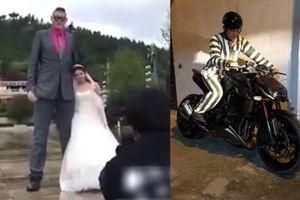 Clip chú rể 2m chụp ảnh cưới với cô dâu 1m5, mặc áo tù chạy mô tô 400 triệu