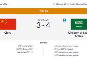 Ghi 3 bàn cuối trận, Olympic Trung Quốc vẫn bị loại cay đắng ở ASIAD