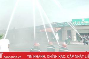 Diễn tập phương án chữa cháy tại nơi sản xuất đồ gỗ nổi tiếng Hà Tĩnh