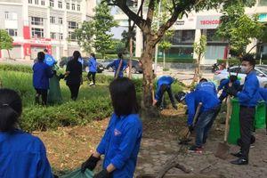 Tuổi trẻ Hà Đông ra quân vệ sinh môi trường, bóc xóa quảng cáo rao vặt trái phép