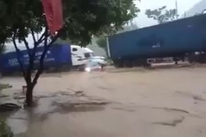 Tài xế dũng cảm dùng xe container cứu xế hộp khỏi bị lũ cuốn trôi