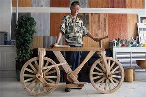Độc đáo xe đạp hoàn toàn bằng gỗ có thể hoạt động bình thường