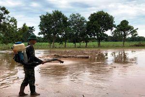 Đội y học dự phòng Quân khu 4 vệ sinh môi trường sau lũ tại Thanh Hóa