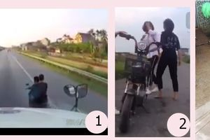 Nóng trên mạng xã hội: Trai lái xe ngông nghênh, gái hành xử 'giang hồ'
