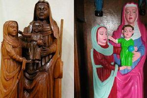 Người phục chế tượng Chúa Jesus bị chỉ trích vì sơn màu sặc sỡ