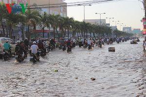 Triều cường dâng cao, nhiều tuyến đường ở TP Cần Thơ bị ngập sâu