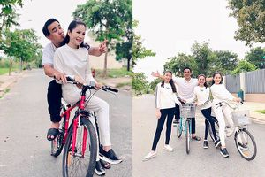Kỷ niệm 13 năm ngày cưới, Quyền Linh vẫn dép tổ ong, đạp xe giản dị bên vợ con