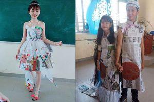 Học sinh trung học lung linh trong trang phục tái chế