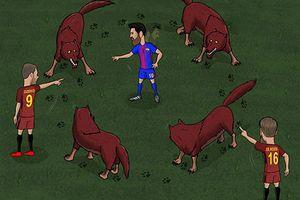 Hí họa Messi không thể thoát khỏi vòng vây của 'bầy sói'