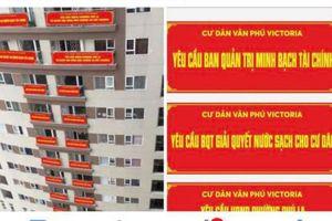 4 tuần liền cư dân Victoria Văn Phú treo băng rôn phủ kín dãy nhà đòi quyền lợi