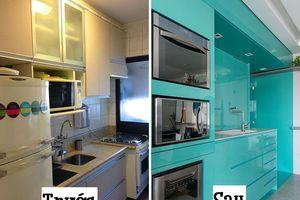 Mãn nhãn với gian bếp màu xanh ngọc bích được cải tạo từ căn bếp cũ xập xệ