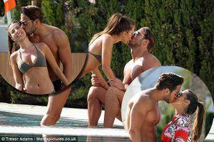 Chân dài 9x Yazmin Oukhellou và bạn trai vô tư âu yếm ở bể bơi