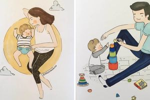 Bộ tranh ấm áp về cuộc sống của mẹ khi có con yêu bên cạnh