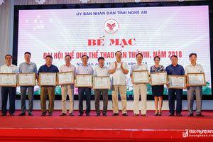 Trao 338 bộ huy chương tại Đại hội TDTT tỉnh Nghệ An lần thứ VIII
