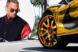 Siêu bò Lamborghini Aventador vàng chóe của Chris Brown khiến ai cũng phải 'lé mắt'