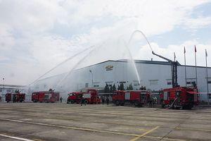 Diễn tập phương án chữa cháy, cứu nạn, cứu hộ nhiều lực lượng tại Công ty TNHH General Motor Việt Nam