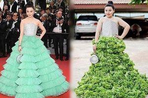 Phản ứng bất ngờ của Phạm Băng Băng với váy cosplay làm từ rau diếp