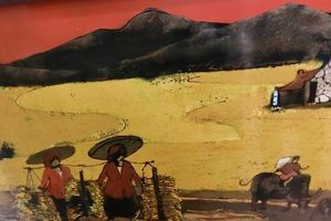 Quê mùa trong tranh sơn ta làng Hạ Thái