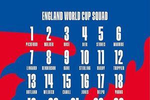 Danh sách, số áo cầu thủ và lịch thi đấu của đội tuyển Anh tại World Cup 2018