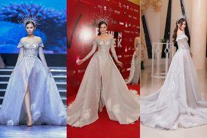 Á hậu 'siêu vòng ba' Thanh Trang diện váy dài tận 3 mét 'quét sạch' sàn diễn