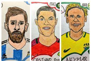 Loạt tranh vẽ 'xấu điên đảo' các tuyển thủ World Cup gây sốt Twitter
