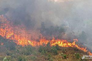 Nắng to, cháy rừng lại bùng phát, lan rộng ở Nam Đàn