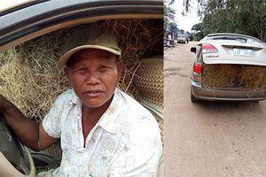 Xe sang Lexus RX300 chỉ để chở rơm tại Campuchia