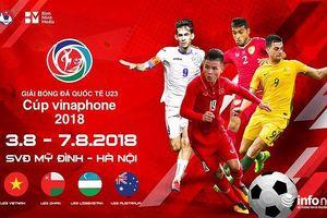 Lịch thi đấu giải tứ hùng Quốc tế U23 năm 2018 diễn ra tại Hà Nội
