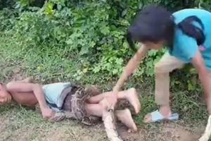 Hai đứa trẻ bắt rắn bằng tay không, dùng cơ thể làm mồi nhử