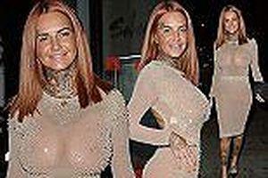 Jemma Lucy đầm nude xuyên thấu không nội y, phô 3 vòng ngoại cỡ