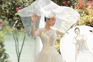 Cận cảnh váy cưới Nhã Phương trong ngày trọng đại