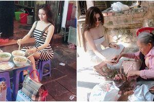 Á hậu Thư Dung mặc sexy ngồi ăn bún ở phố cổ Hà Nội