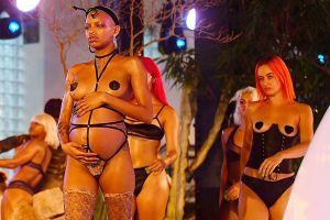 Hai người mẫu vác bụng bầu trình diễn ở show nội y của Rihanna