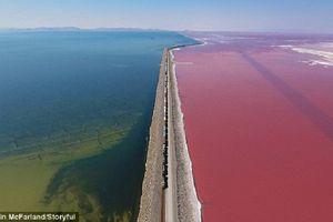Khung cảnh như tranh vẽ ở hồ muối hai màu hồng, xanh