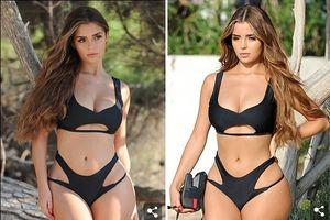 Nàng mẫu 9X Demi Rose phô đường cong nóng bỏng với bikini đen huyền bí