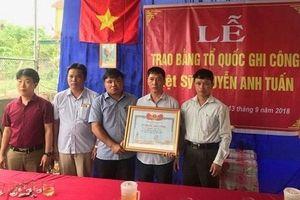 Nghệ An:Trao bằng Tổ quốc ghi công cho liệt sỹ dũng cảm cứu người