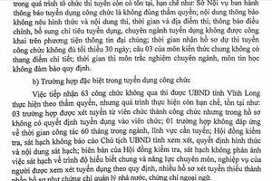 Thanh tra Bộ Nội vụ kiến nghị Vĩnh Long thu hồi các quyết định về công tác cán bộ không đúng