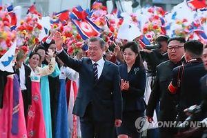 Rợp trời cờ hoa chào đón Tổng thống Hàn Quốc đến Triều Tiên