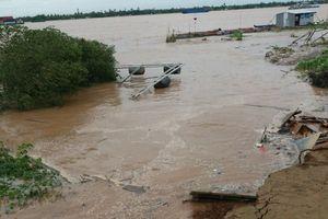 Nhiều đoạn đê bao sông Tiền và sông Cổ Chiên bị 'hà bá' nuốt