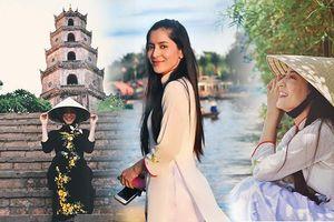 Mỹ nhân Thái lai Ấn khoe sắc đẹp duyên dáng khi mặc áo dài: 'Tôi có thể nói một chút tiếng Việt'