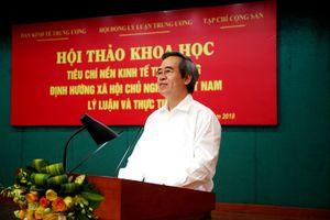Xây dựng Bộ tiêu chí nền kinh tế thị trường định hướng xã hội chủ nghĩa