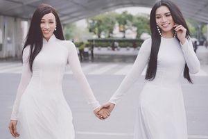 BB Trần và Hải Triều diện áo dài tinh khôi 'náo loạn' trên phố Thái Lan