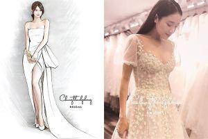 Hé lộ 1 trong 3 thiết kế váy cưới của Nhã Phương