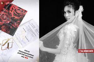 Á hậu Huyền My khoe thiệp cưới chính thức của Lan Khuê cùng chồng đại gia