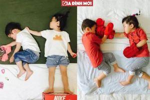 Bà mẹ tận dụng mọi lúc 2 con ngủ để tạo ra bộ ảnh siêu đáng yêu có một không hai