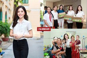 Vừa về đến Hà Nội, Á hậu Phương Nga giản dị đi từ thiện cùng đàn chị tại Bệnh viện Xanh Pôn